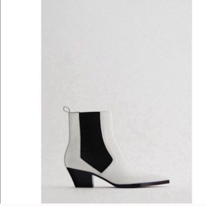 New Zara Leather western Cowboy White Ankle Boots womens sz EUR 40 Us 9-9.5